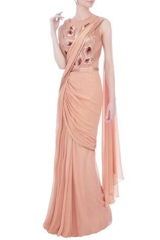 Rose pink chiffon saree gown