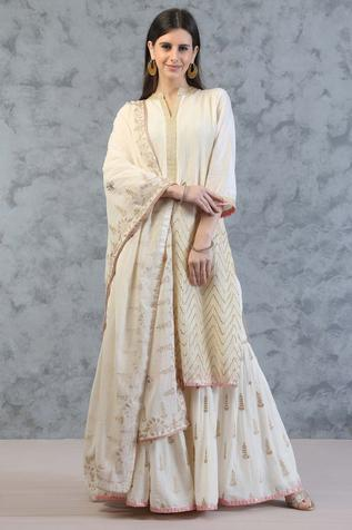 Silk Chanderi Kurta Gharara Set