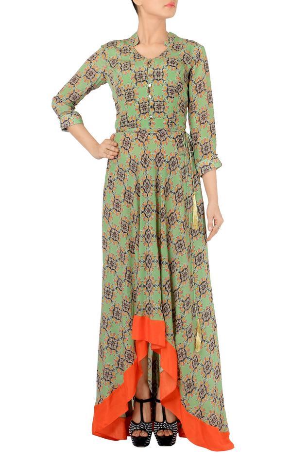 Fern green & orange geormetric printed maxi dress