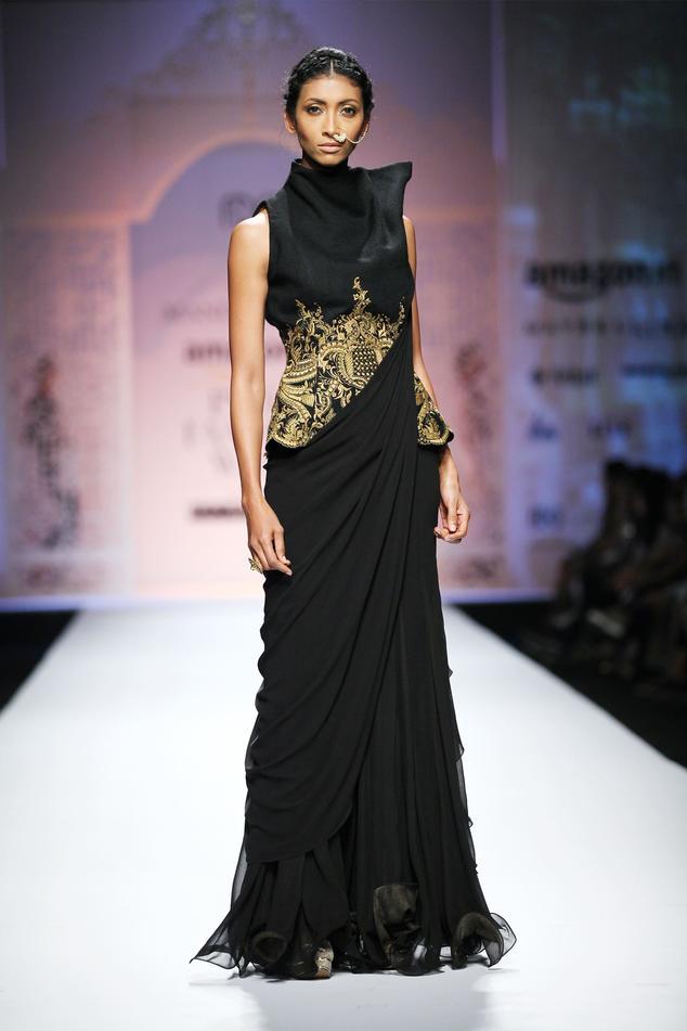 Black ruffled saree gown