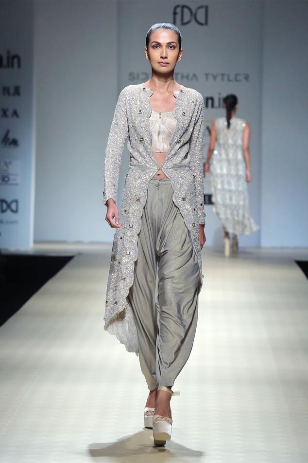 Metallic silver textured draped pants
