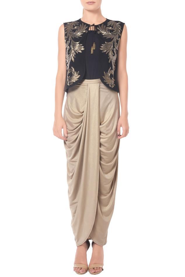 Beige & gold shimmer dhoti skirt