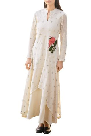 Off-white cotton dress double with mirror and floral applique details