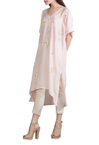 Baby pink floral work tunic