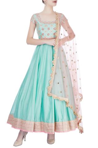 Sea blue & pink embroidered anarkali set