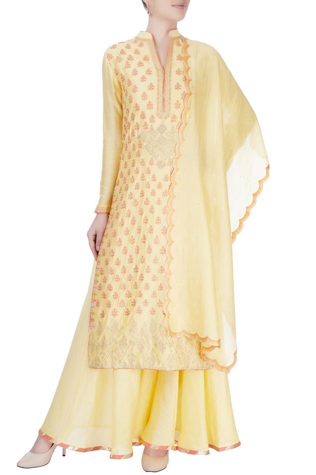 Yellow kurta set  with badla embroidery