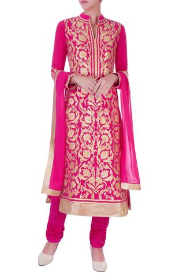 Fuschia chanderi silk applique long kurta set