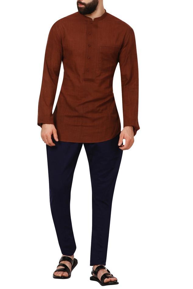 Brown band collar cotton shirt