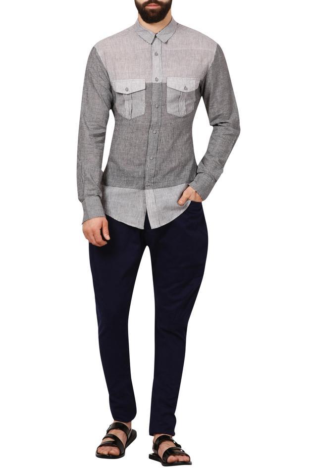 Grey gingham check handloom cotton shirt