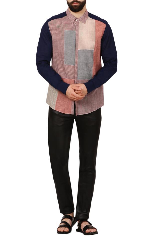 Multicolored patchwork handloom shirt