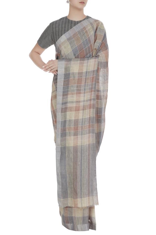 linen Handwoven Saree & unstitched blouse