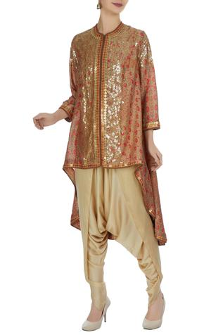Printed gold sequin embroidered jacket with dhoti pants