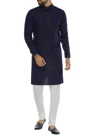 Printed navy blue kurta