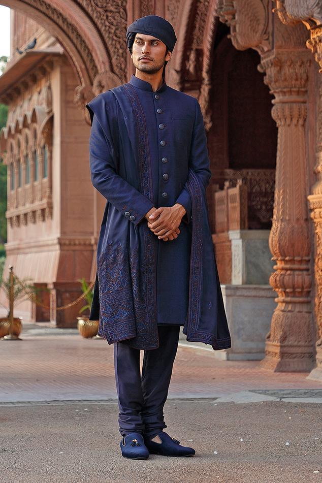 Raw Silk Sherwani Set