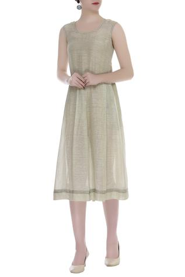 Linen Silk Midi Dress