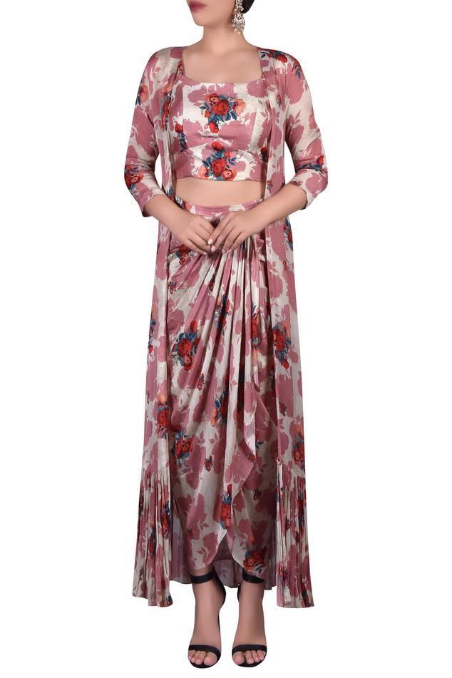 Printed crop top with draped skirt & shrug