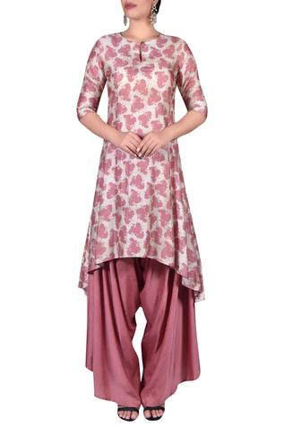 Printed asymmetric kurta with draped pants