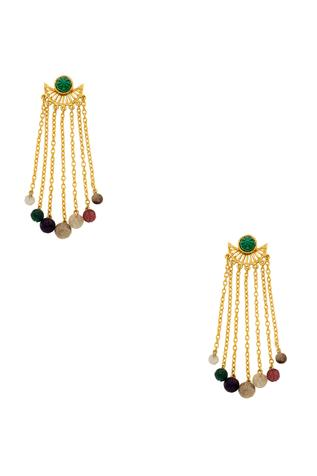 Handcrafted multicolored long fringe earrings