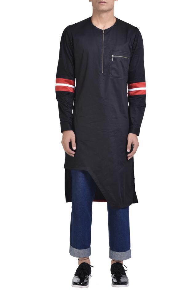 Cotton asymmetric zipper kurta