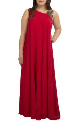 Embroidered Flared Maxi Dress