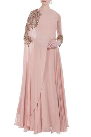 Cape coin embroidered gown