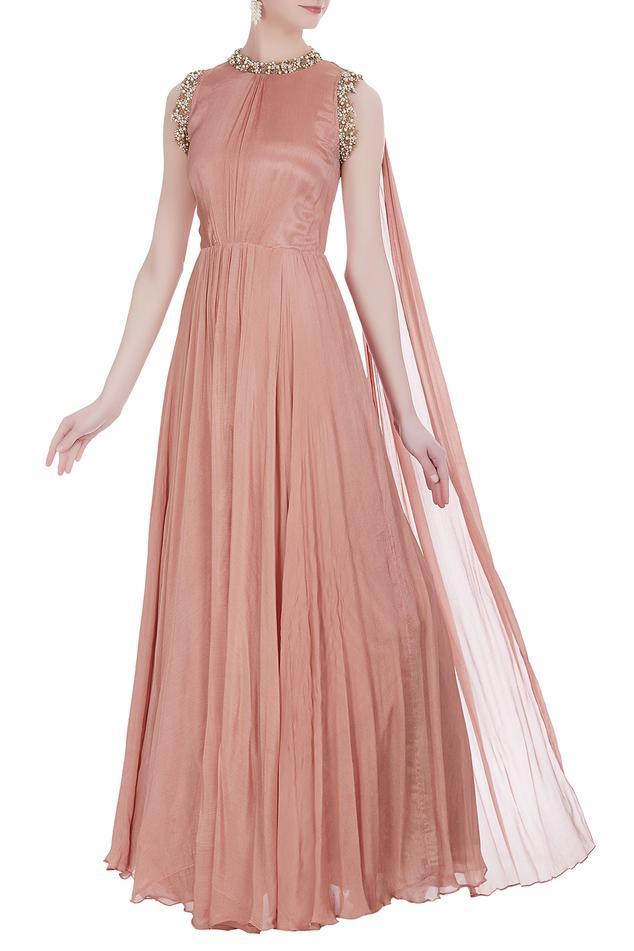 Sleeveless gown with drape dupatta