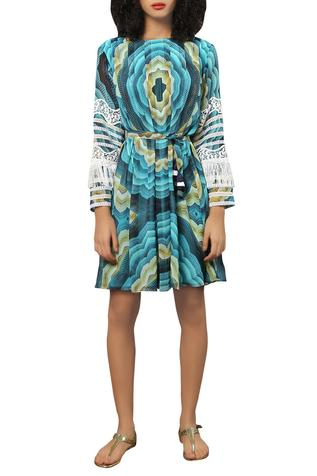 Digital printed tassel dress