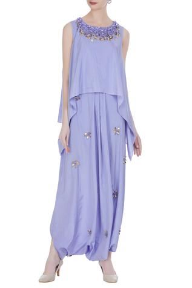 Silk Embellished Draped Pant Set