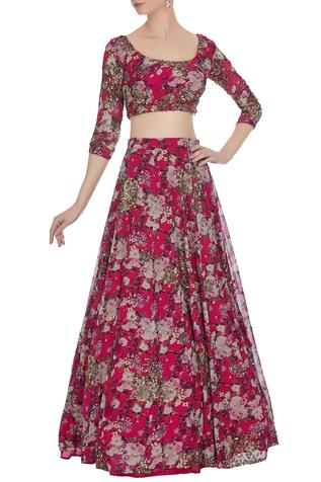 Floral printed lehenga set by Astha Narang