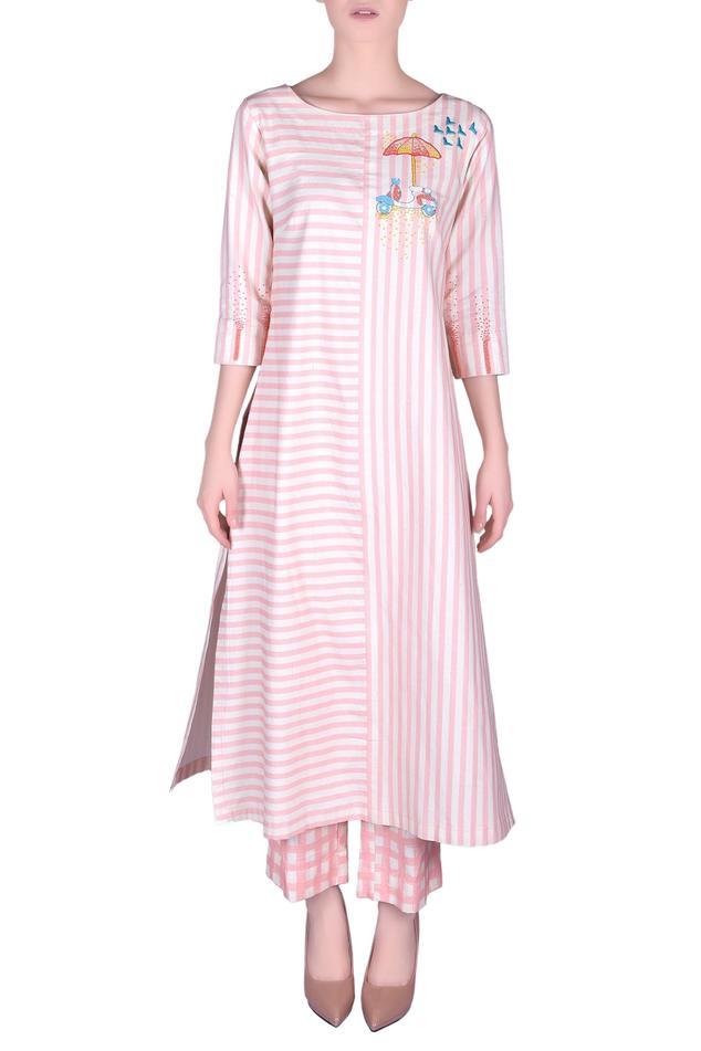 Cotton stripe kurta with pants