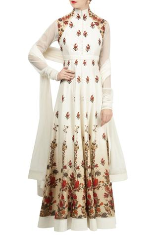 Rose motif digital printed anarkali set.