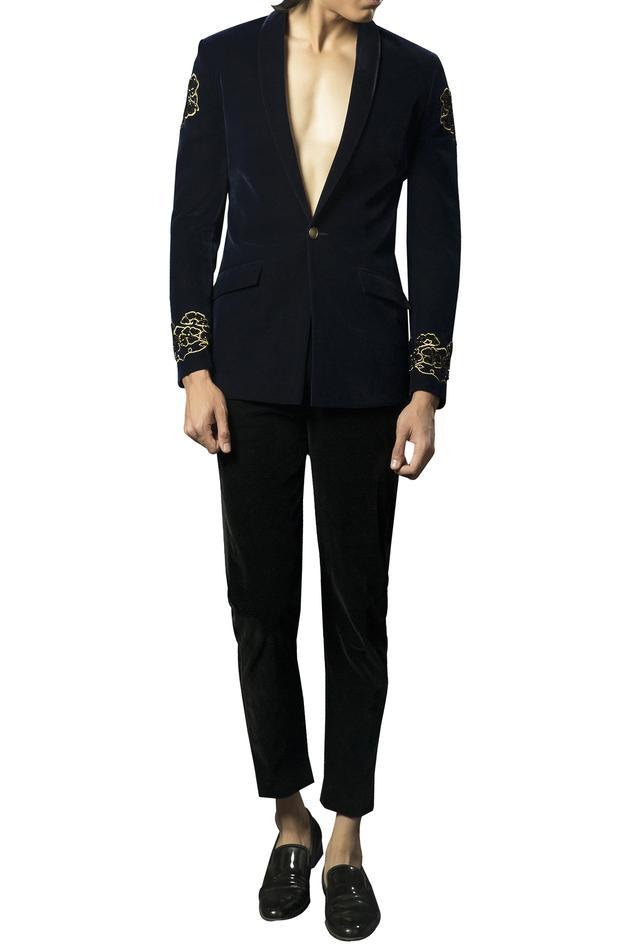 Velvet embellished dragon motif blazer