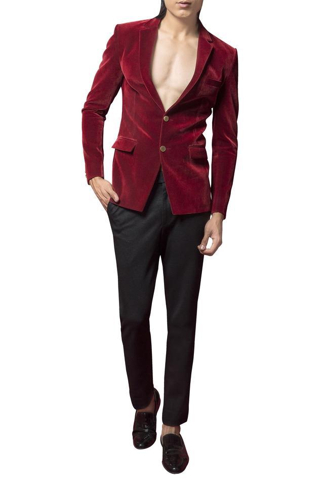 Velvet blazer with crystalized rayon motif