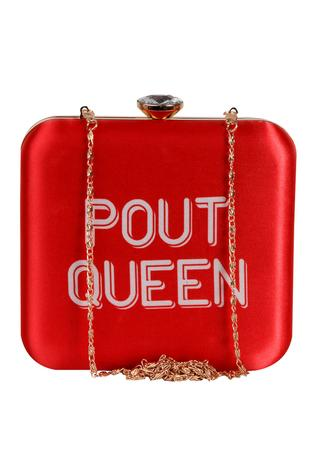 Pout queen' printed clutch with long chain