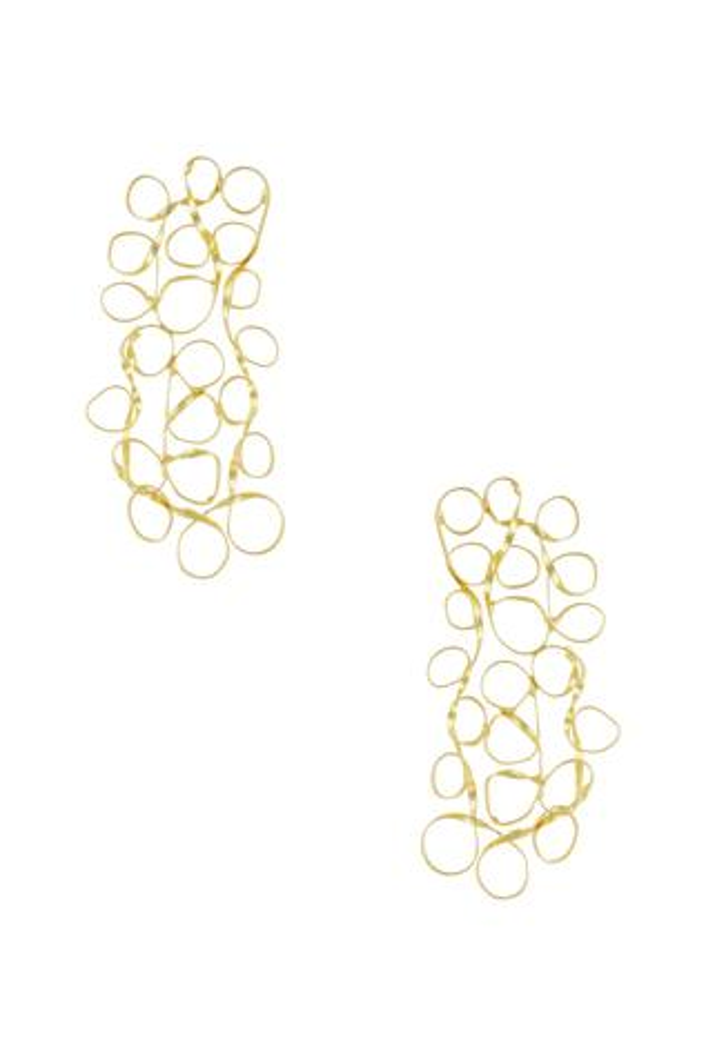 Rectangular mesh earrings