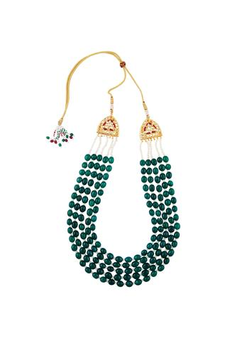 Beaded necklace with kundan