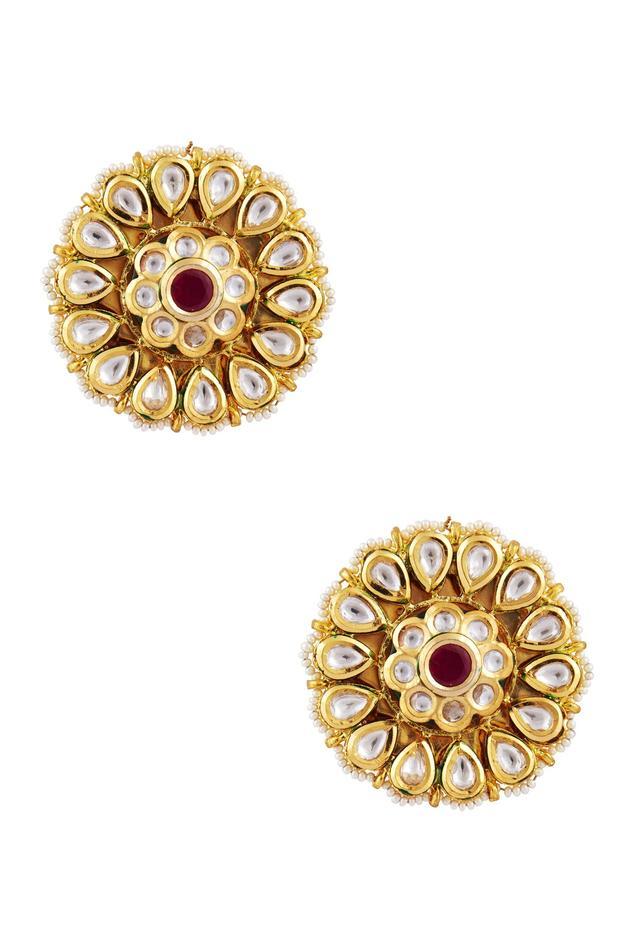 Kundan & pearl floral stud earrings
