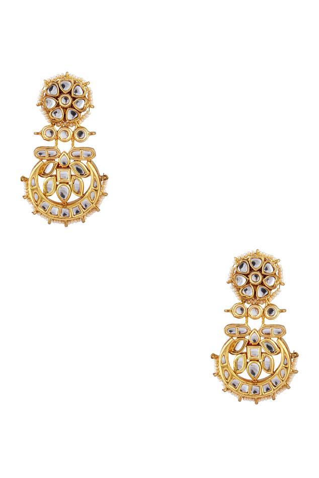 Chand bali pearl & kundan earrings