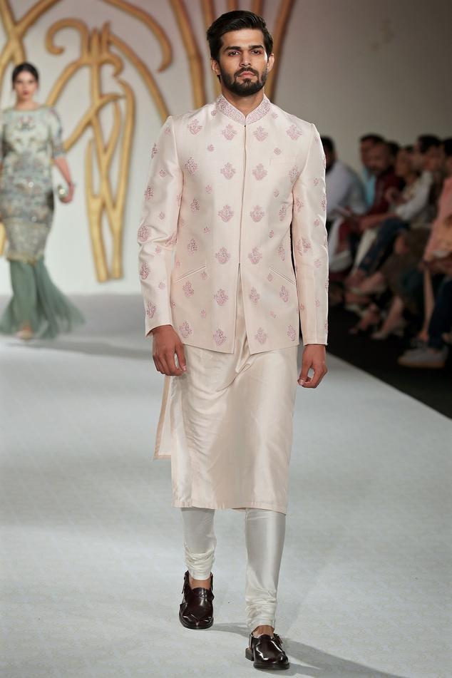 Raw silk embroidered bandhgala set