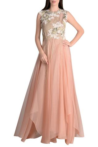 Embroidered gown with asymmetric hemline