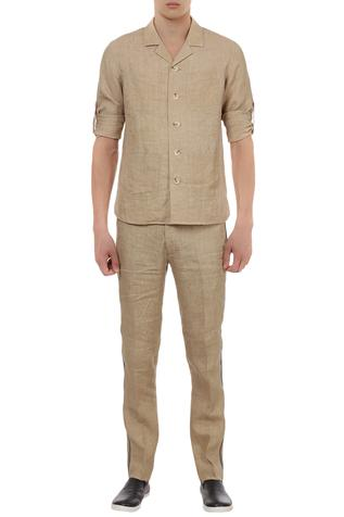 Cuban collar shirt with casual trousers