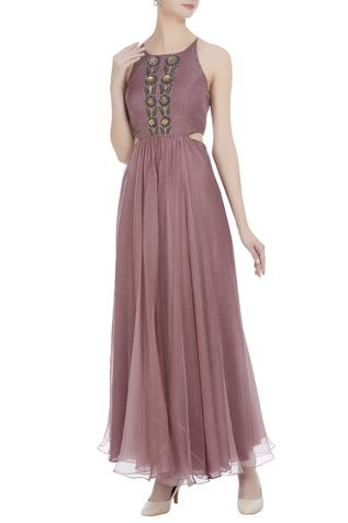 Organza cutdana hand-embroidered backless gown