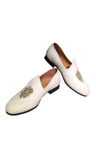 Handcrafted white loafers