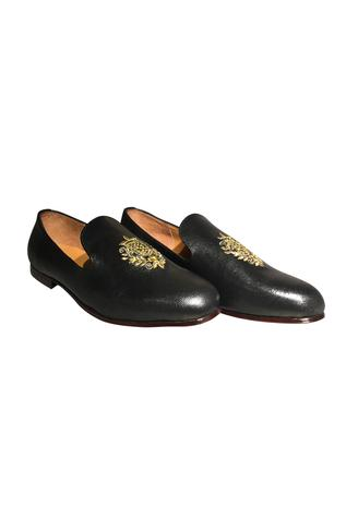 Embroidered motif pure leather loafers