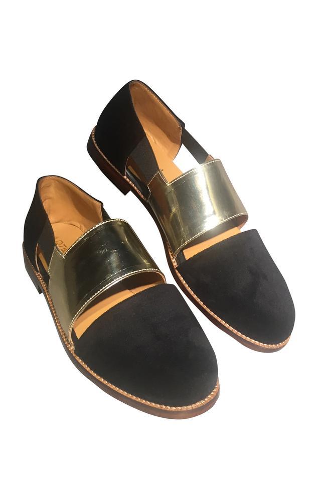 Double strap velvet & leather sandals