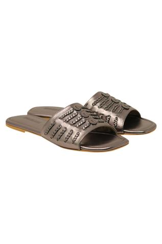 Braided detail leatherette flat sandals