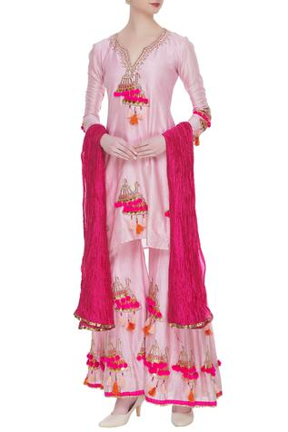 Chanderi Silk Kurta Sharara Set