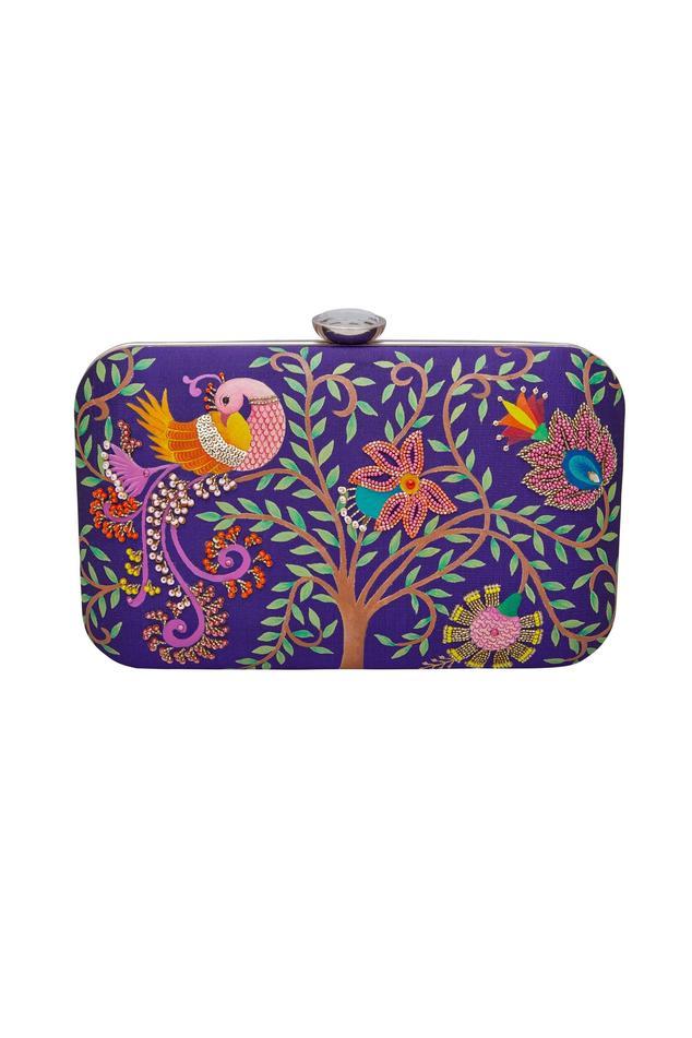 Hand embroidered garden motifs clutch
