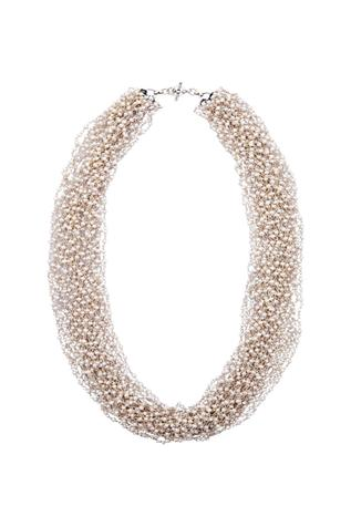 Silver layered necklace with pearl accents