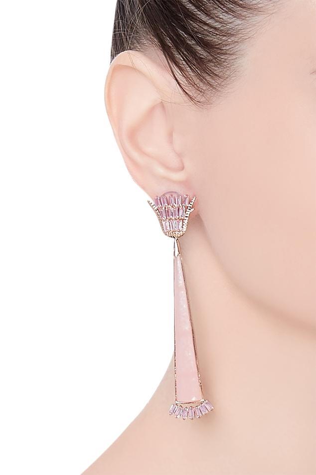 Glazed rose earrings